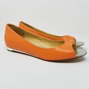 Cole Haan Air Astoria Open Toe Ballet Flats Orange